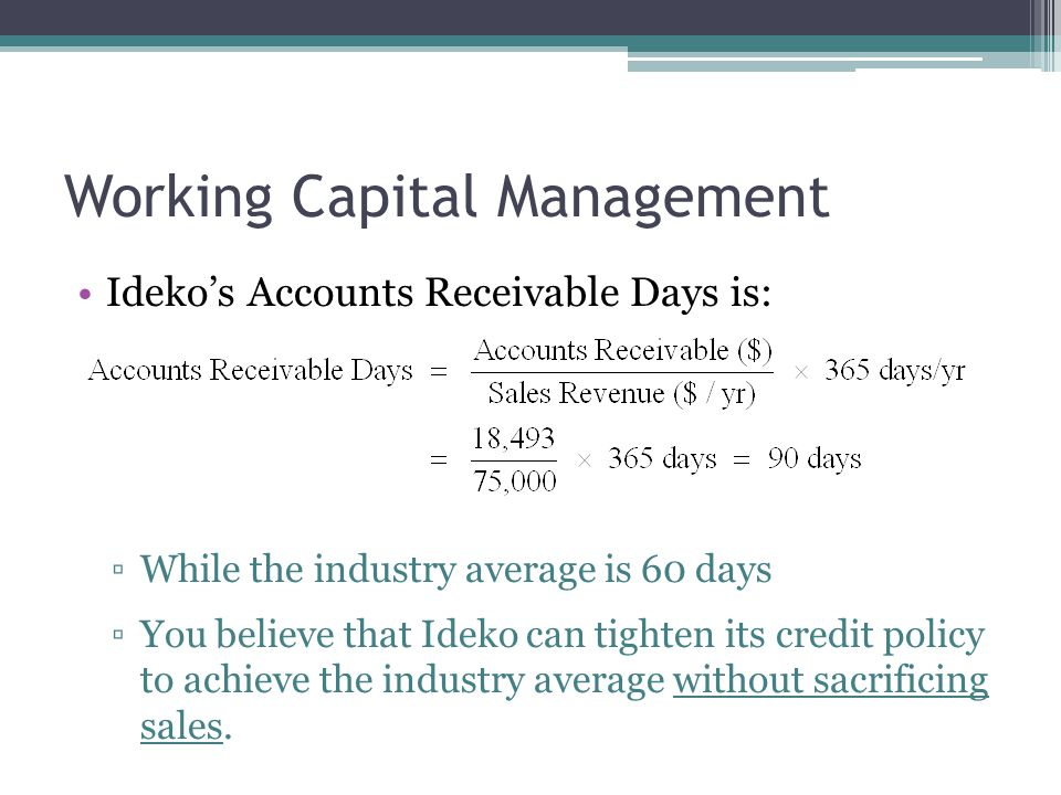 Working Capital Management Ideko's inventory figure on its balance sheet includes $2 million of raw materials.