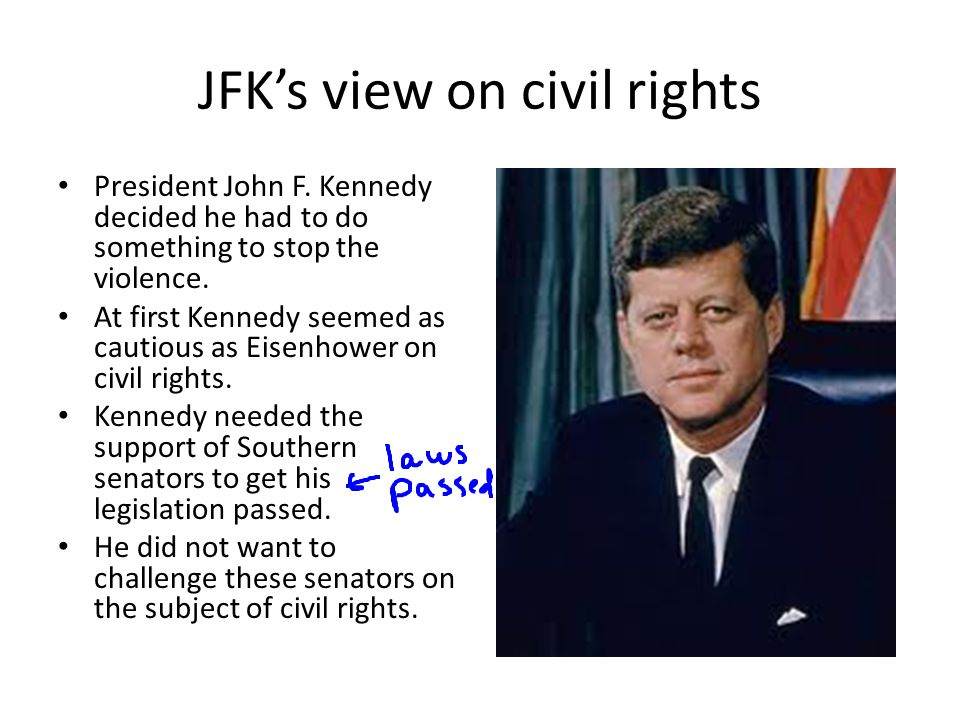 JFK's move on civil rights However, Kennedy did name about 40 African Americans to high-level government jobs.