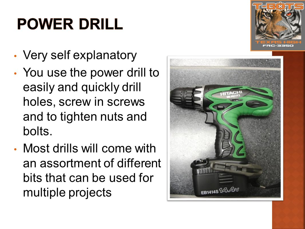 Very self explanatory You use the power drill to easily and quickly drill holes, screw in screws and to tighten nuts and bolts.