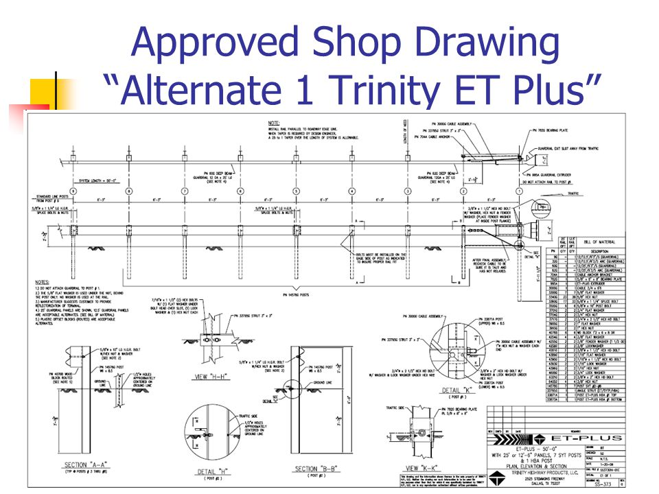 "Approved Shop Drawing ""Alternate 1 Trinity ET Plus"""