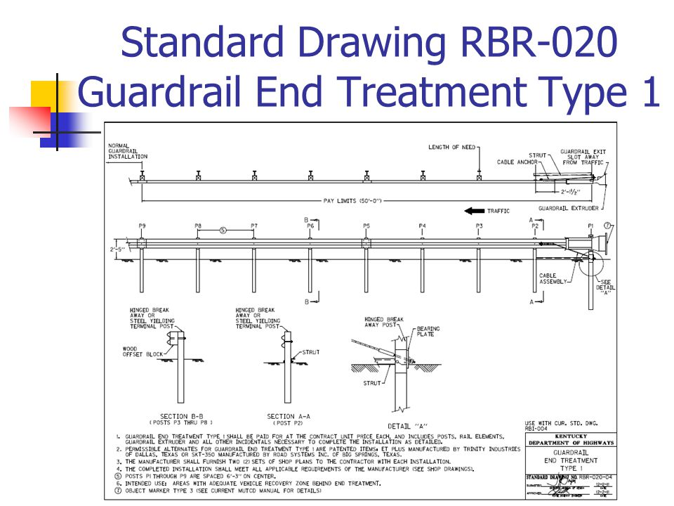 Standard Drawing RBR-020 Guardrail End Treatment Type 1