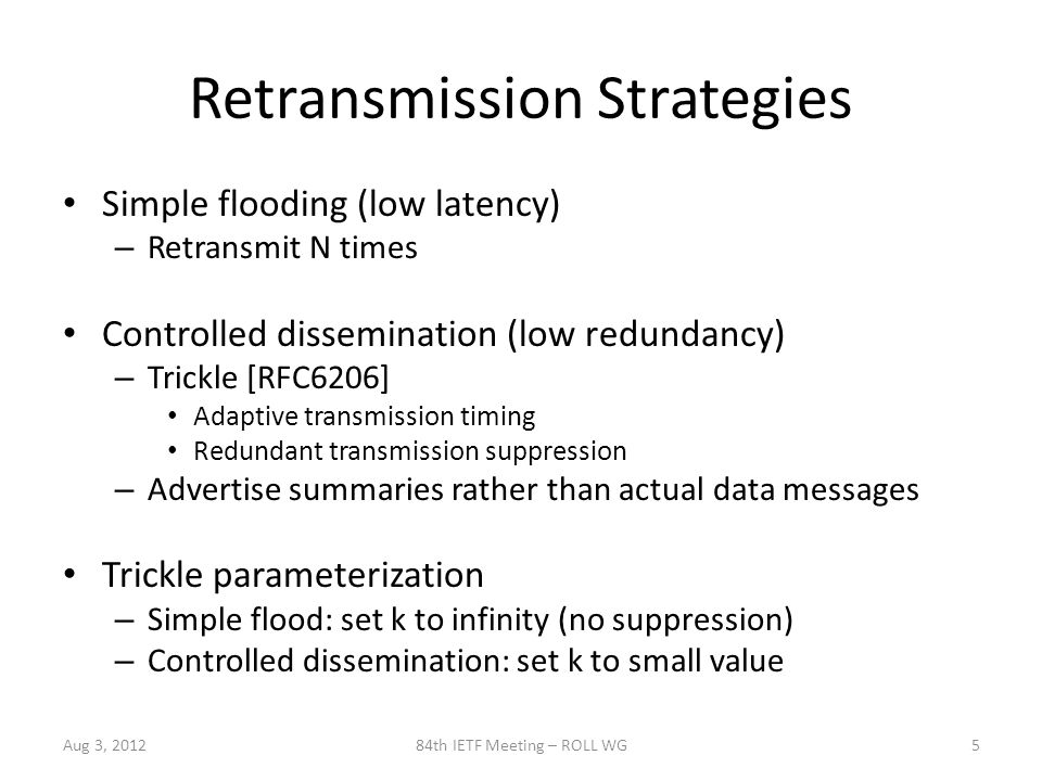 Sliding Windows Disseminate multiple messages from same SeedID – Receiving messages out of order will filter old messages Sliding window – Bounded history to allow some out-of-order – May size window based on memory constraints Aug 3, 201284th IETF Meeting – ROLL WG6