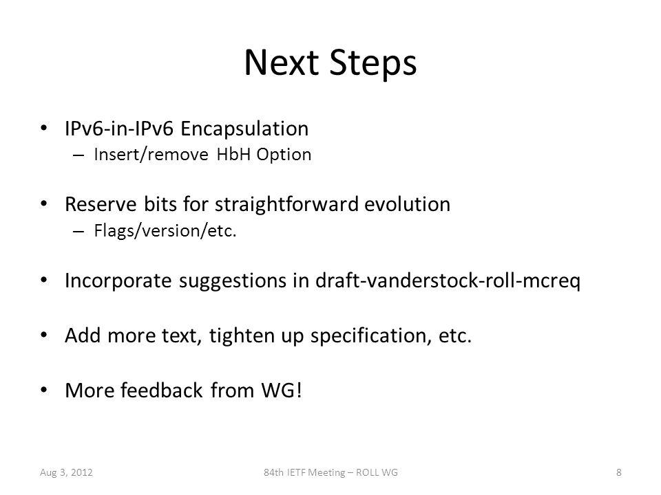 Next Steps IPv6-in-IPv6 Encapsulation – Insert/remove HbH Option Reserve bits for straightforward evolution – Flags/version/etc.