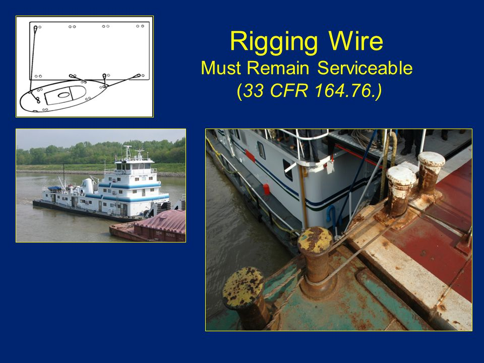 Rigging Wire Must Remain Serviceable (33 CFR 164.76.)