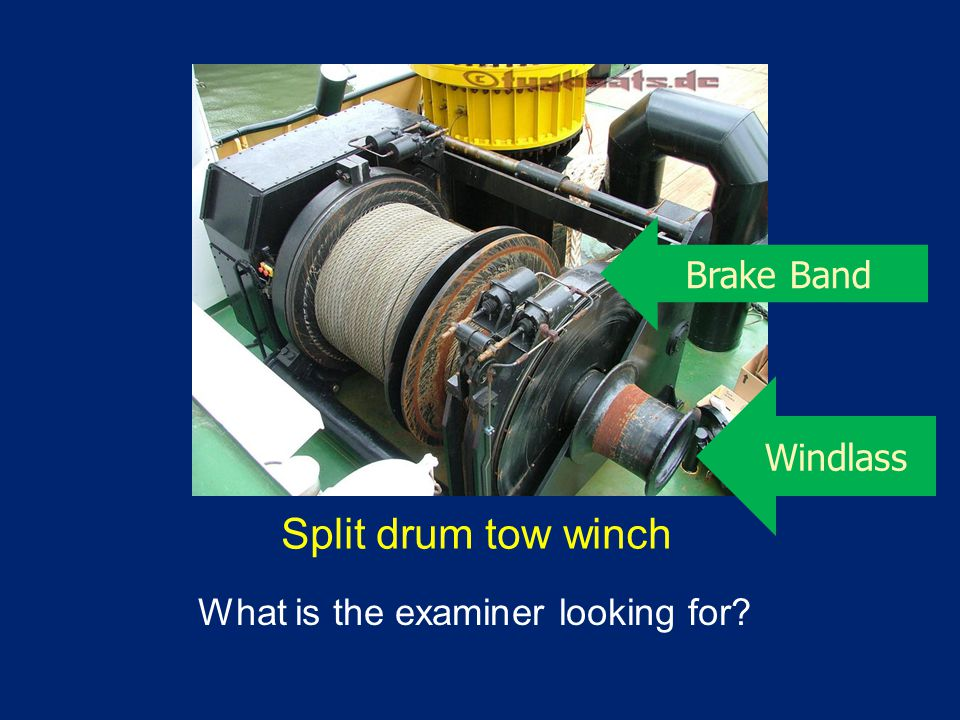 Split drum tow winch What is the examiner looking for? Windlass Brake Band