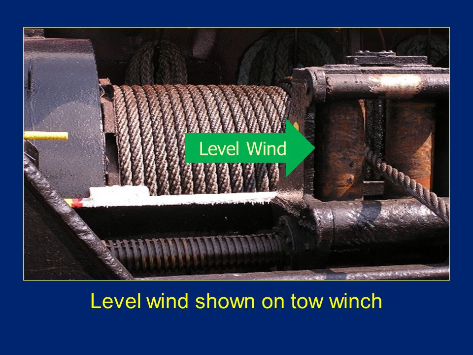 Level wind shown on tow winch Level Wind