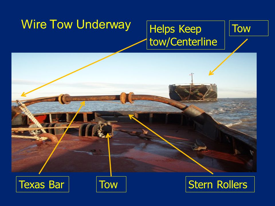 Wire Tow Underway Helps Keep tow/Centerline Tow Stern RollersTowTexas Bar