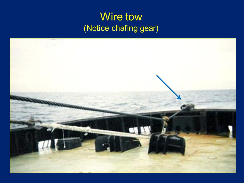 Wire tow (Notice chafing gear)