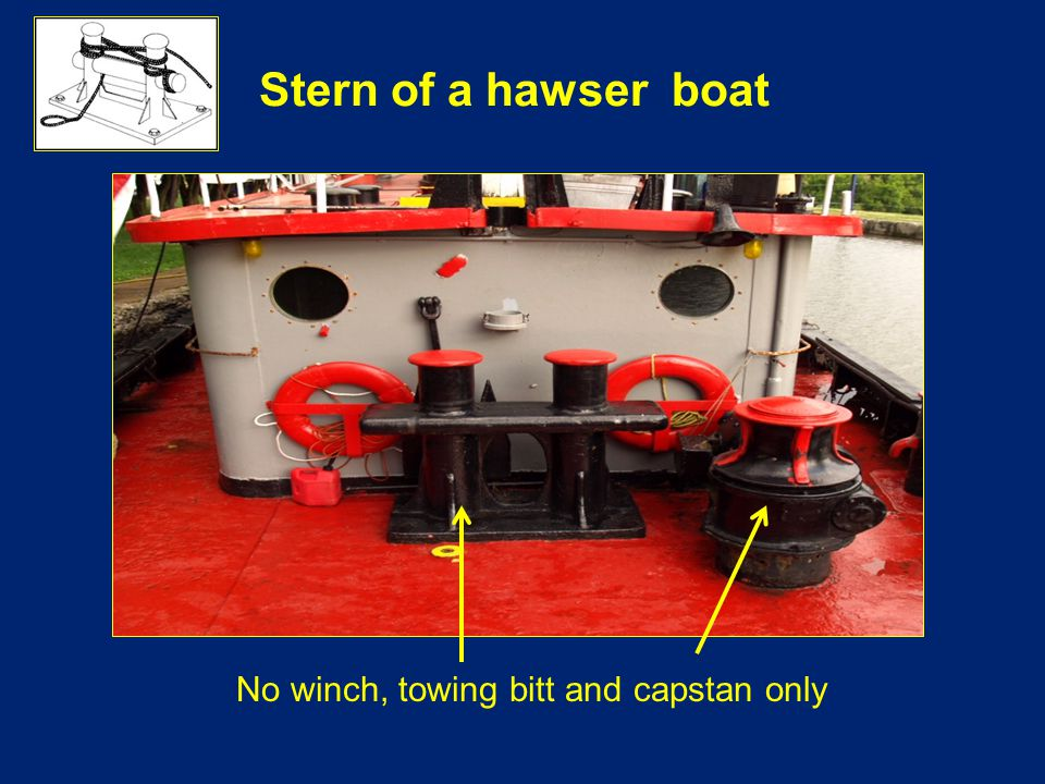 Stern of a hawser boat No winch, towing bitt and capstan only