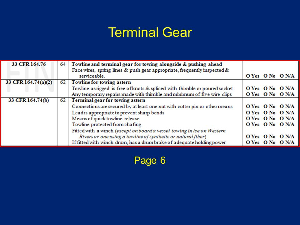Page 6 Terminal Gear