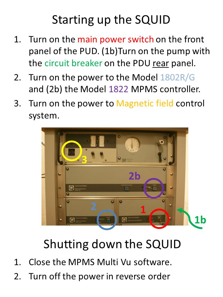 Shutting down the SQUID 1.Turn on the main power switch on the front panel of the PUD.
