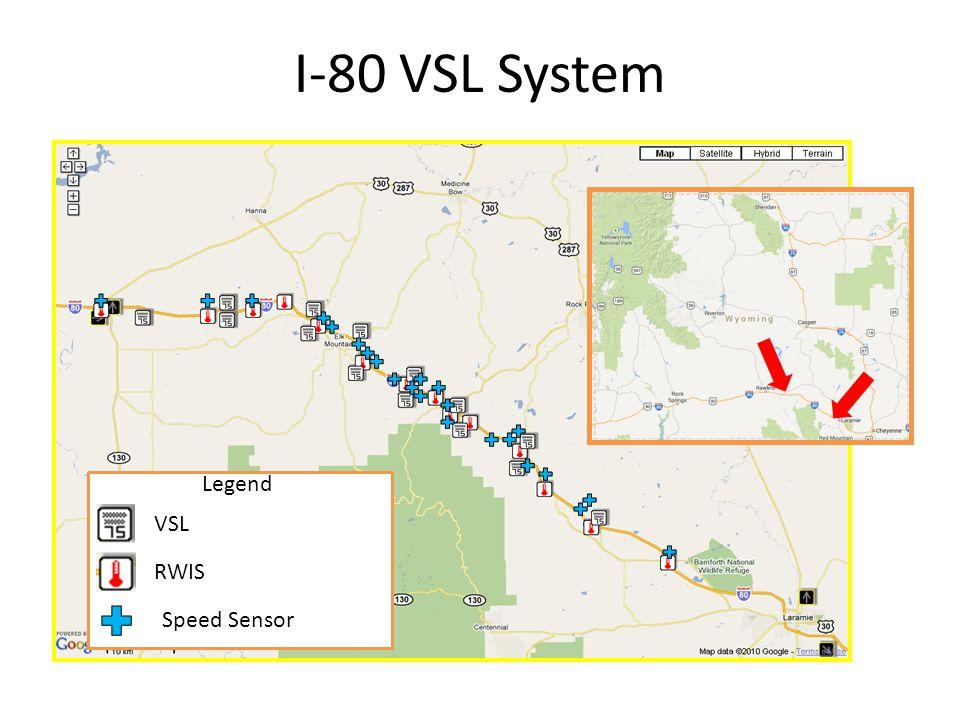 I-80 VSL System Legend VSL RWIS Speed Sensor