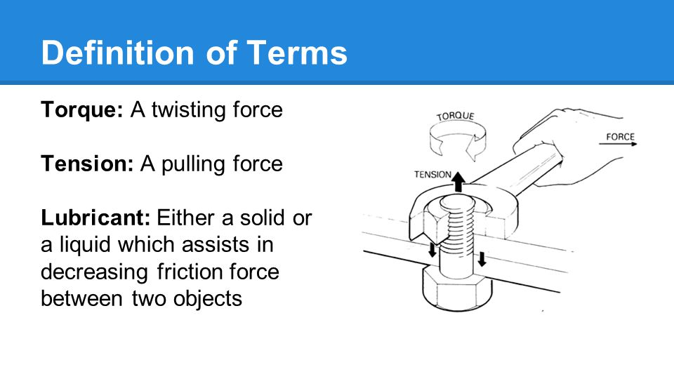 Definition of Terms Torque: A twisting force Tension: A pulling force Lubricant: Either a solid or a liquid which assists in decreasing friction force between two objects