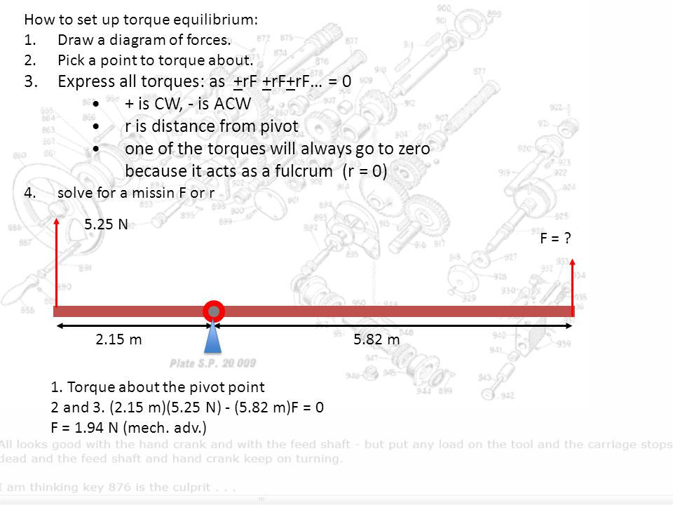 How to set up torque equilibrium: 1.Draw a diagram of forces. 2.Pick a point to torque about. 3.Express all torques: as +rF +rF+rF… = 0 + is CW, - is