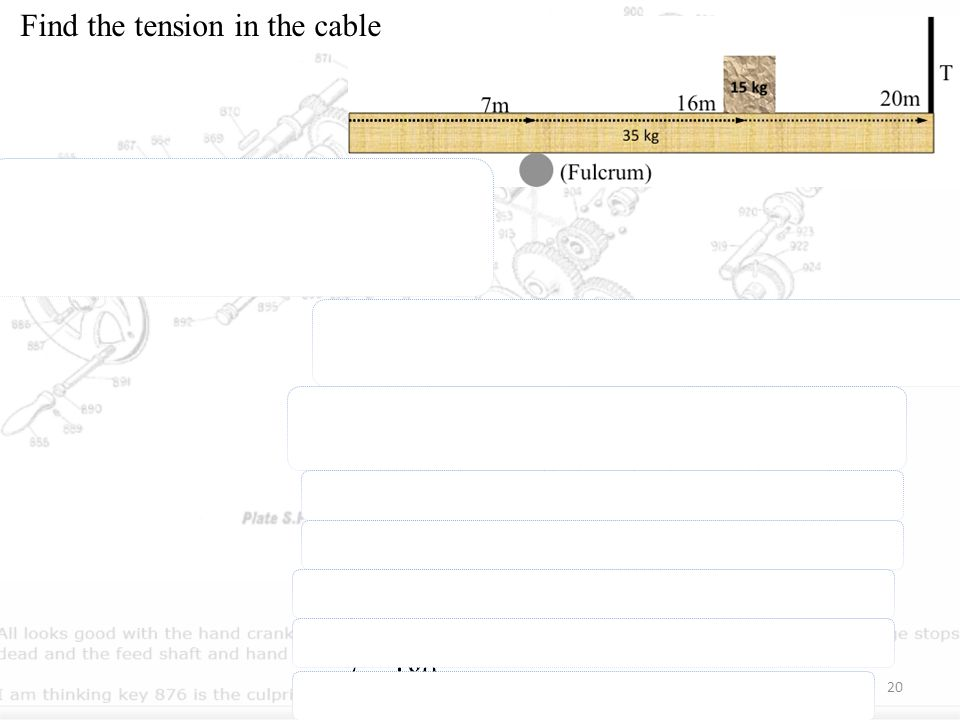 Find the tension in the cable since net force is… the torque about the hinge is … 20