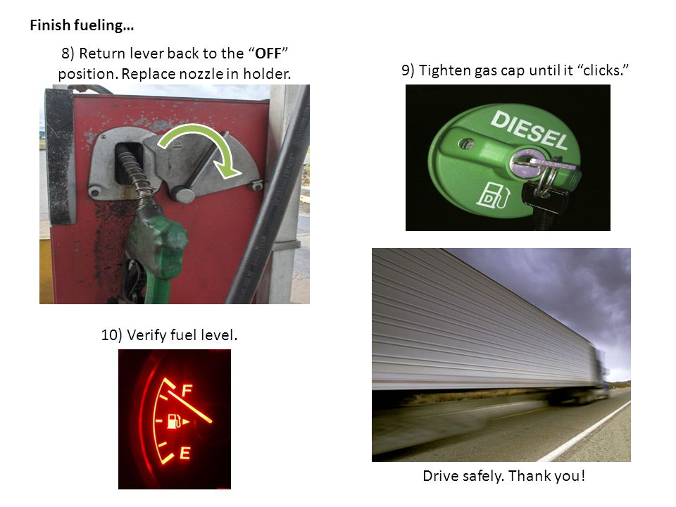 9) Tighten gas cap until it clicks. 8) Return lever back to the OFF position.