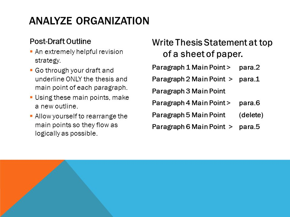 Post-Draft Outline  An extremely helpful revision strategy.
