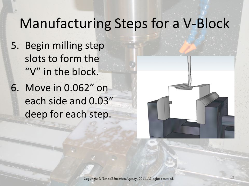 Manufacturing Steps for a V-Block 5.Begin milling step slots to form the V in the block.