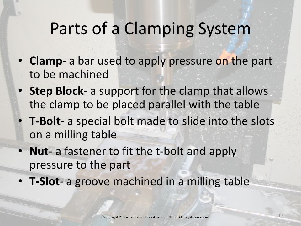 Parts of a Clamping System Clamp- a bar used to apply pressure on the part to be machined Step Block- a support for the clamp that allows the clamp to be placed parallel with the table T-Bolt- a special bolt made to slide into the slots on a milling table Nut- a fastener to fit the t-bolt and apply pressure to the part T-Slot- a groove machined in a milling table Copyright © Texas Education Agency, 2013.
