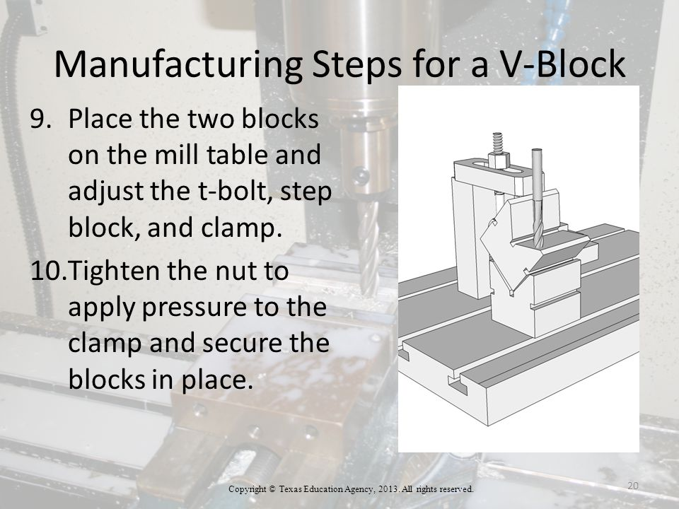 Manufacturing Steps for a V-Block 9.Place the two blocks on the mill table and adjust the t-bolt, step block, and clamp.