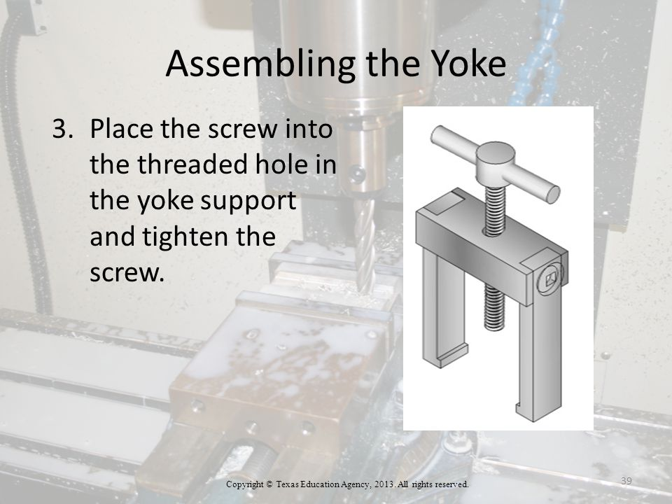 Assembling the Yoke 3.Place the screw into the threaded hole in the yoke support and tighten the screw.