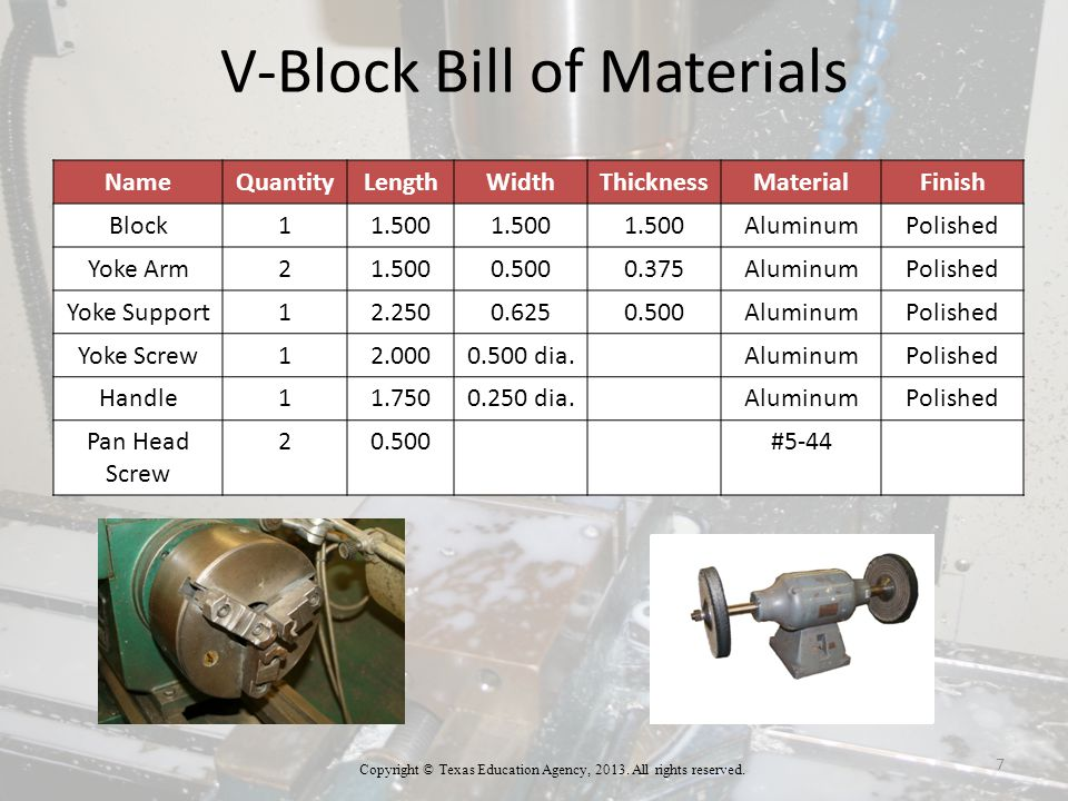 Manufacturing Steps for a V-Block V-Block Cut Sheet Cut the following pieces of metal 2 X 12 X 2 piece of aluminum ⅜ X ½ X 3 ½ piece of aluminum ½ X ⅝ X 2 ¼ piece of aluminum ½ diameter X 2 piece of aluminum ¼ diameter X 1 ¾ piece of aluminum Copyright © Texas Education Agency, 2013.