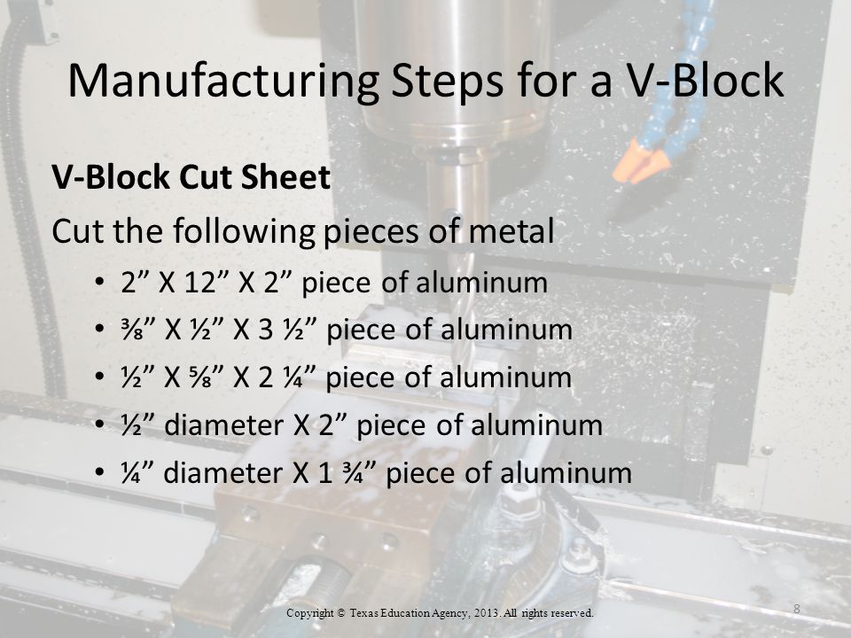 Manufacturing Steps for a V-Block Clamping the V-Block 8.Place the block to be milled into a v-block for the correct angle of 90⁰ (degrees).