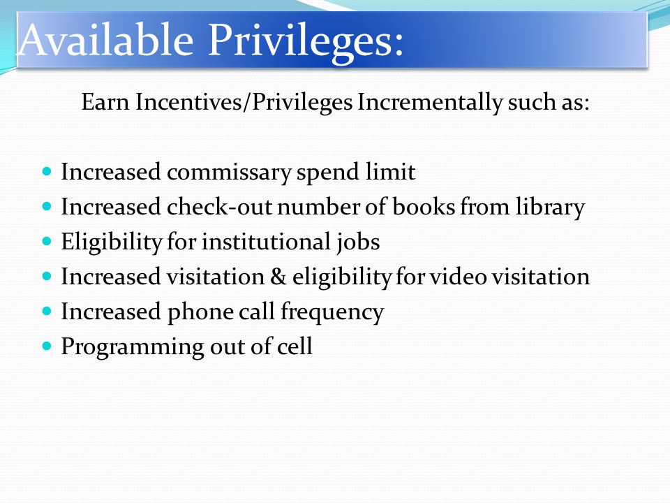 Earn Incentives/Privileges Incrementally such as: Increased commissary spend limit Increased check-out number of books from library Eligibility for institutional jobs Increased visitation & eligibility for video visitation Increased phone call frequency Programming out of cell Available Privileges: