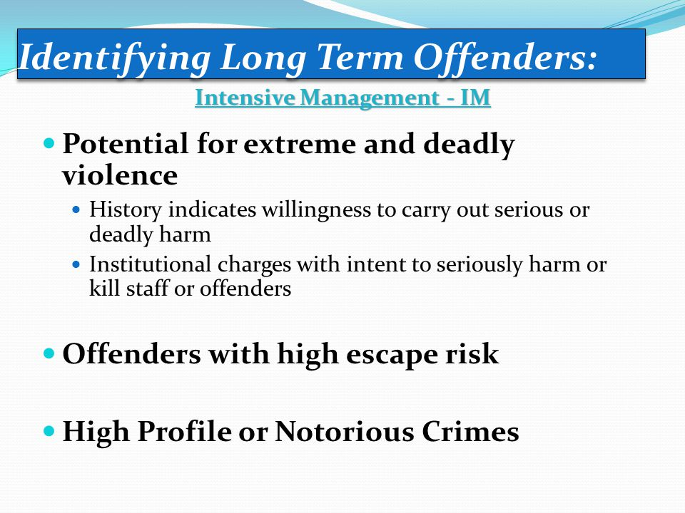 Potential for extreme and deadly violence History indicates willingness to carry out serious or deadly harm Institutional charges with intent to serio