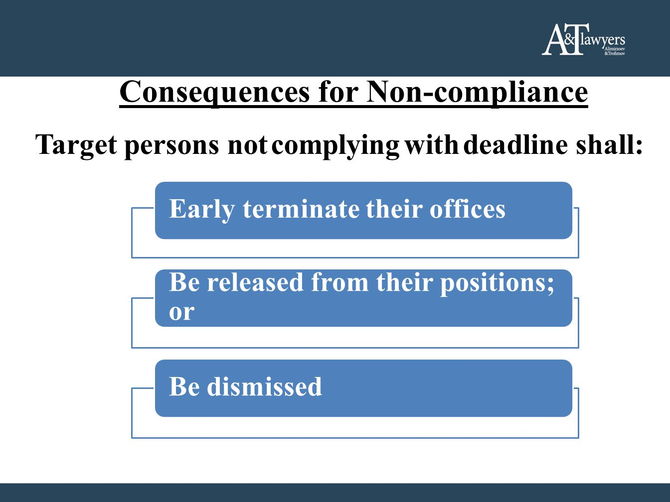 Consequences for Non-compliance Target persons not complying with deadline shall: Early terminate their offices Be released from their positions; or Be dismissed