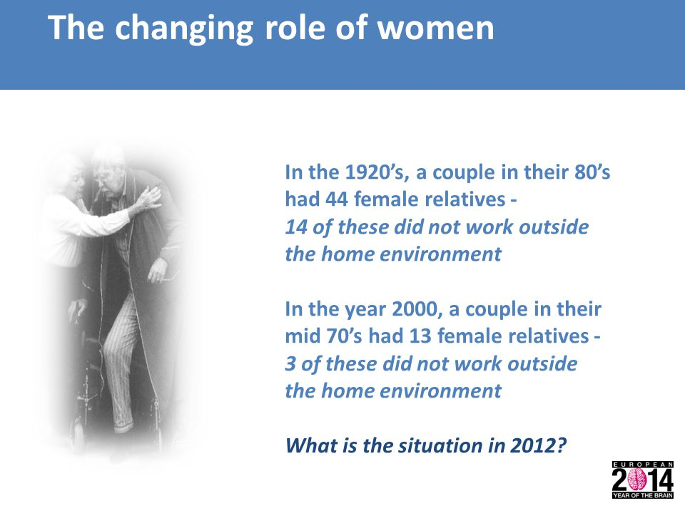 The changing role of women In the 1920's, a couple in their 80's had 44 female relatives - 14 of these did not work outside the home environment In th