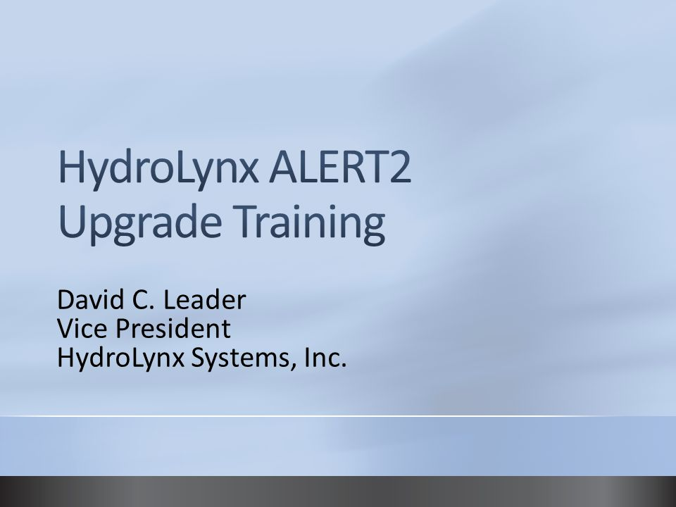 David C. Leader Vice President HydroLynx Systems, Inc.