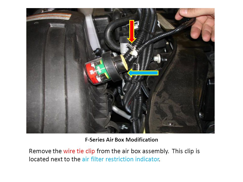 F-Series Air Box Modification Remove the wire tie clip from the air box assembly.