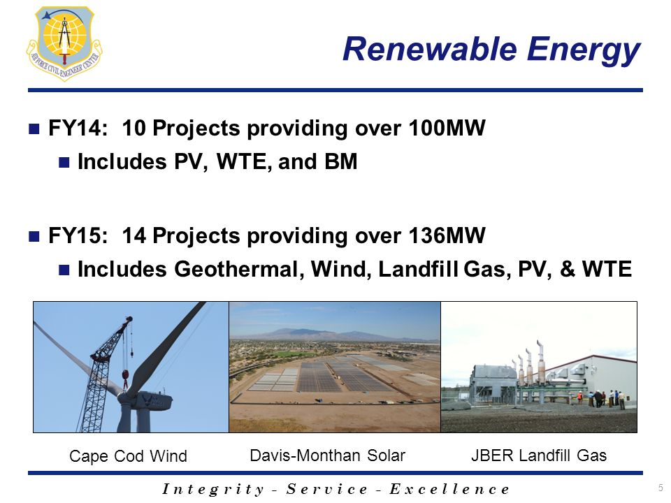 I n t e g r i t y - S e r v i c e - E x c e l l e n c e Renewable Energy FY14: 10 Projects providing over 100MW Includes PV, WTE, and BM FY15: 14 Projects providing over 136MW Includes Geothermal, Wind, Landfill Gas, PV, & WTE 5 Cape Cod Wind Davis-Monthan SolarJBER Landfill Gas