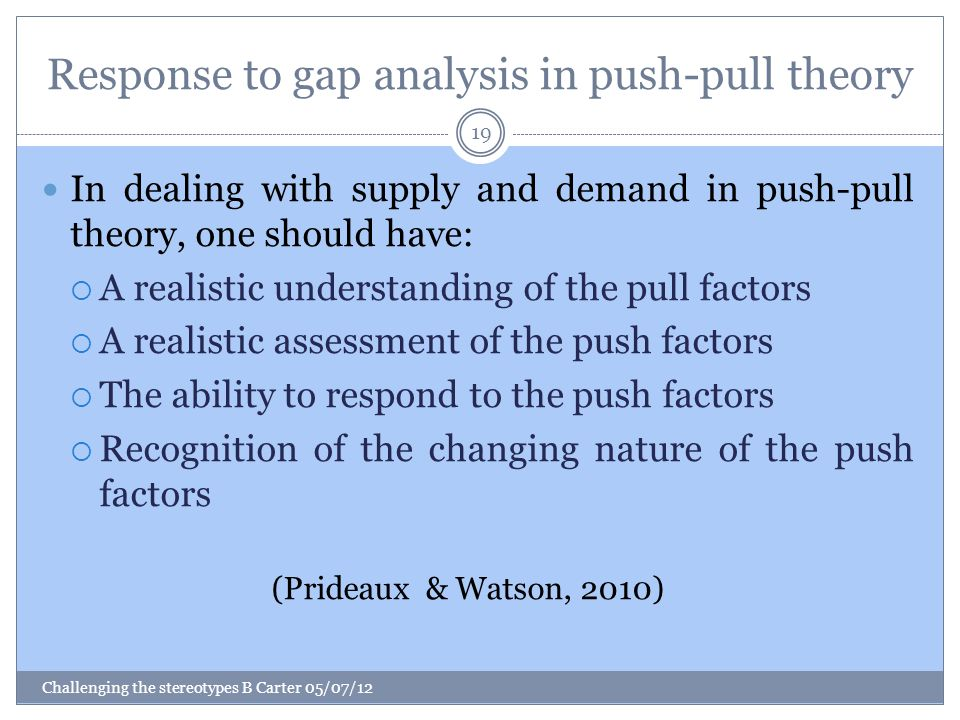 Response to gap analysis in push-pull theory Challenging the stereotypes B Carter 05/07/12 19 In dealing with supply and demand in push-pull theory, one should have:  A realistic understanding of the pull factors  A realistic assessment of the push factors  The ability to respond to the push factors  Recognition of the changing nature of the push factors (Prideaux & Watson, 2010)