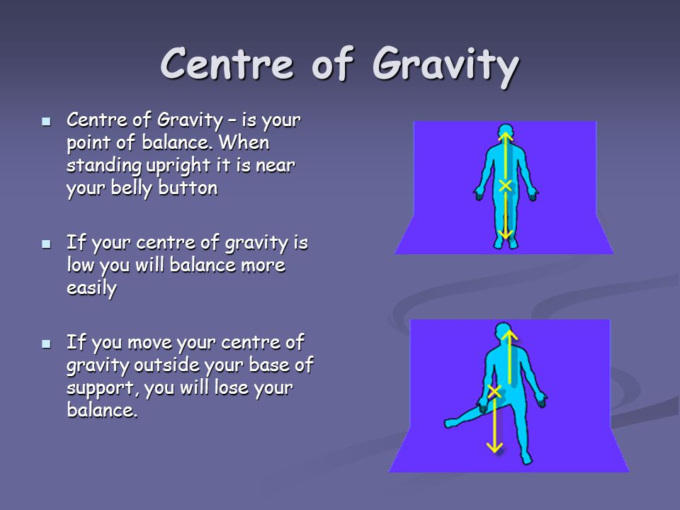 Centre of Gravity Centre of Gravity – is your point of balance.