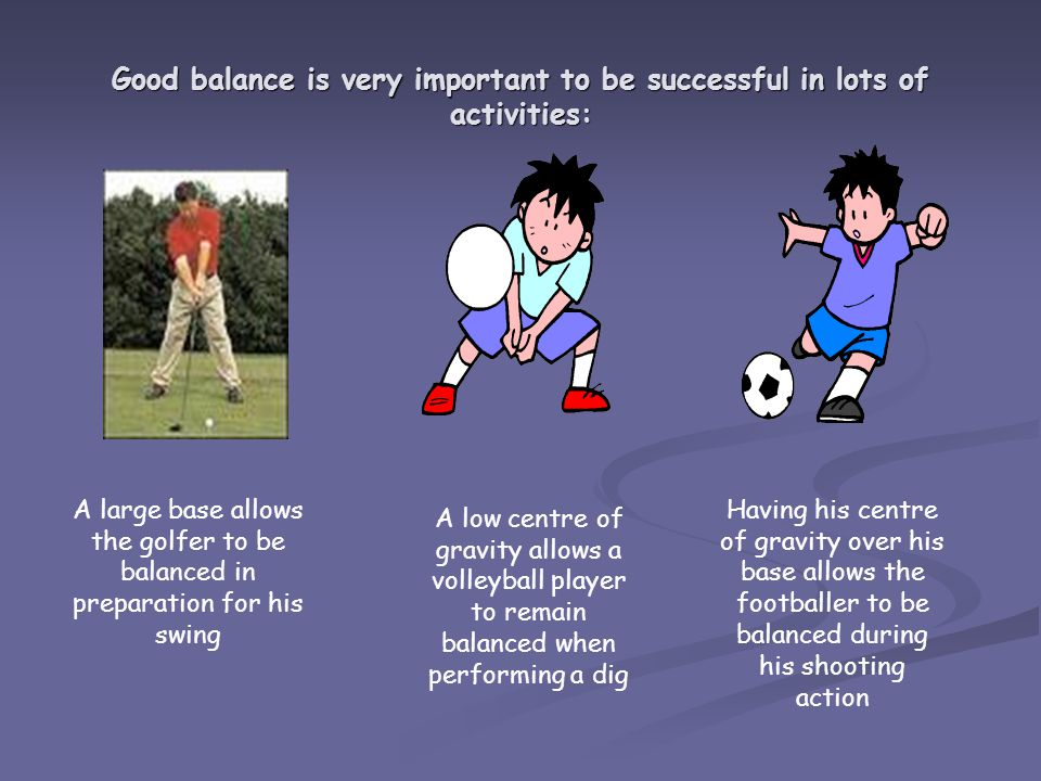 Good balance is very important to be successful in lots of activities: A large base allows the golfer to be balanced in preparation for his swing A low centre of gravity allows a volleyball player to remain balanced when performing a dig Having his centre of gravity over his base allows the footballer to be balanced during his shooting action