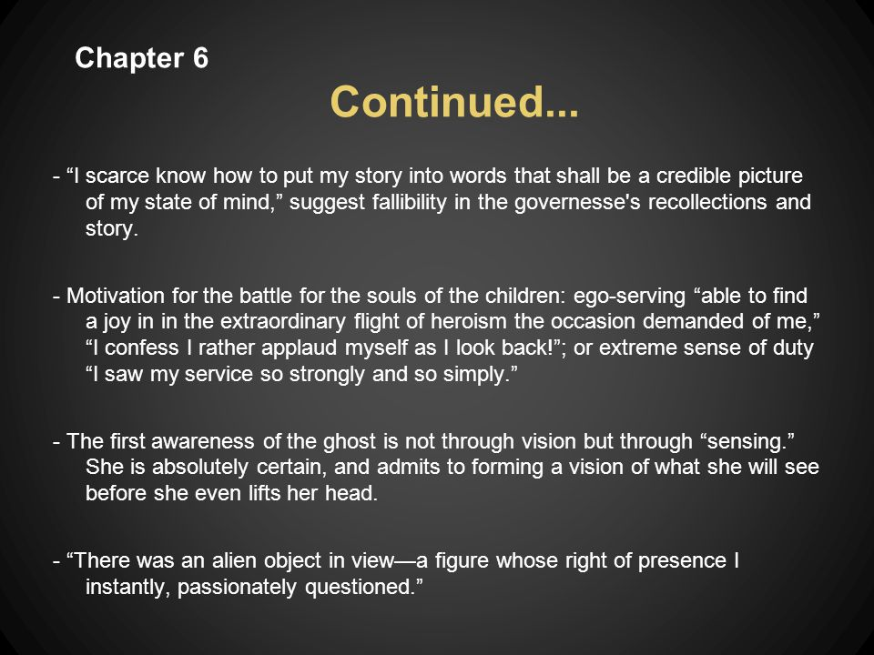 TRENDS - Conclusions drawn with no proof- an extreme sense of the governess intuition as opposed to concrete facts.