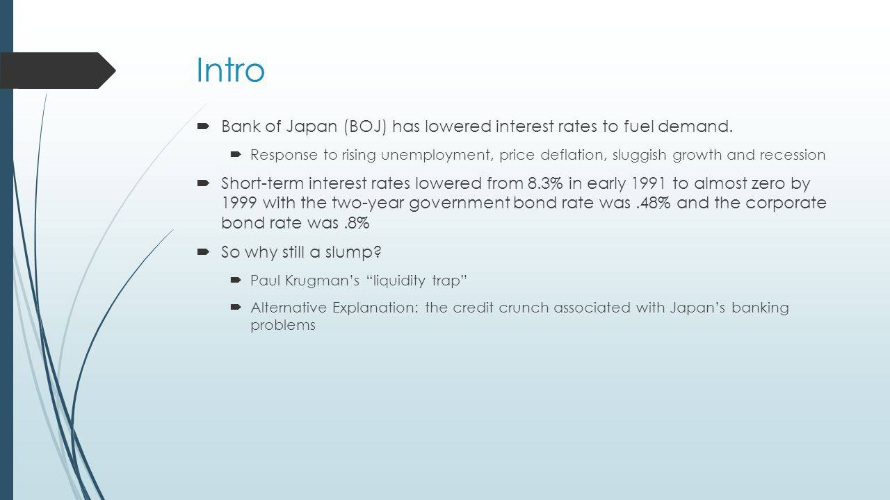Intro  Bank of Japan (BOJ) has lowered interest rates to fuel demand.