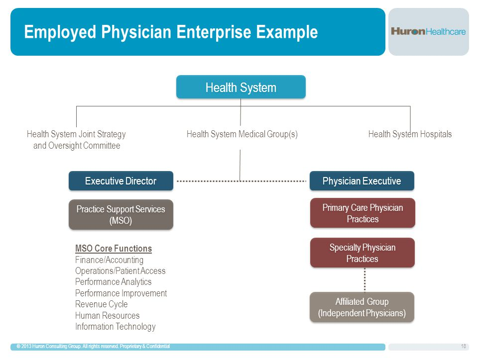 18 Employed Physician Enterprise Example © 2013 Huron Consulting Group.