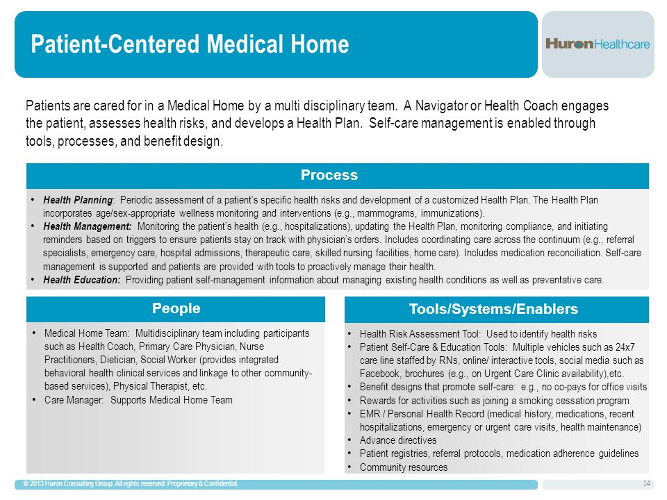 Patient-Centered Medical Home © 2013 Huron Consulting Group.