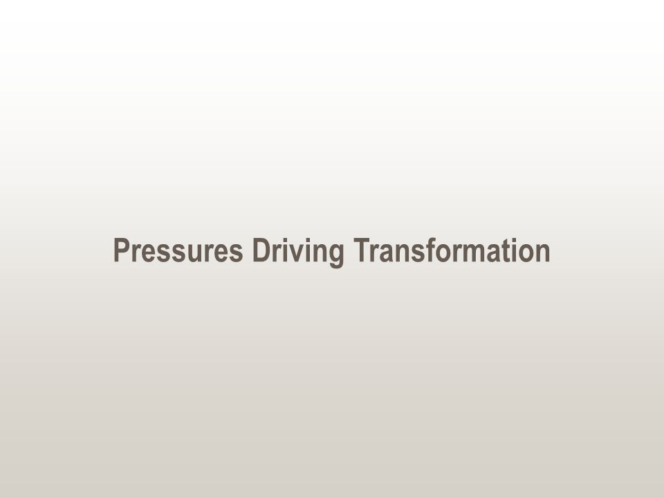 Pressures Driving Transformation