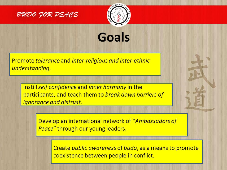 Goals Promote tolerance and inter-religious and inter-ethnic understanding. Create public awareness of budo, as a means to promote coexistence between