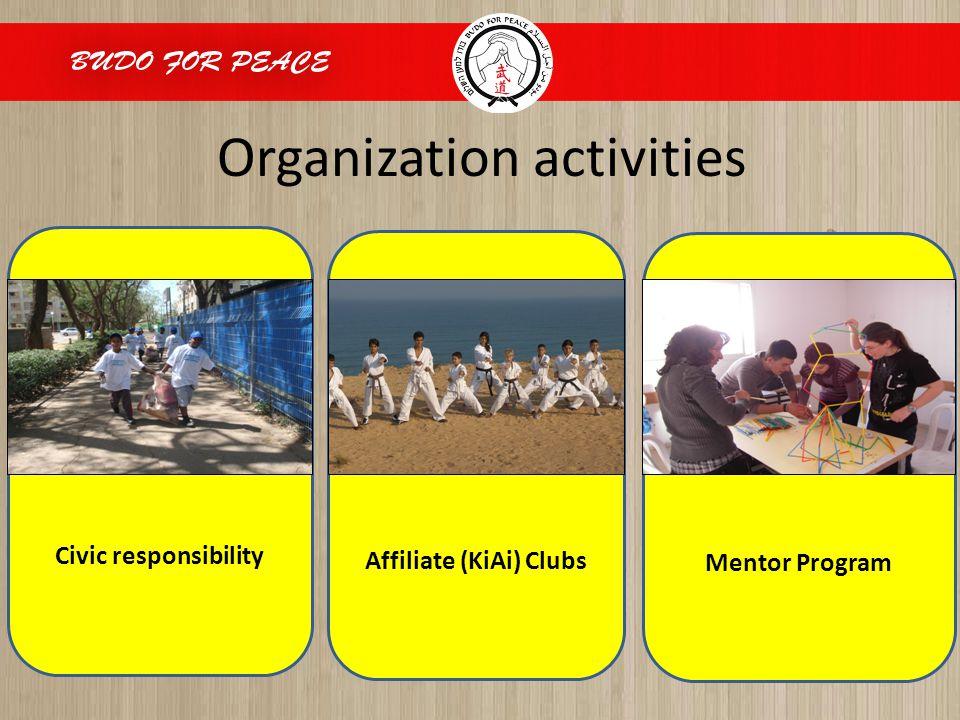 Organization activities Civic responsibility Affiliate (KiAi) Clubs Mentor Program