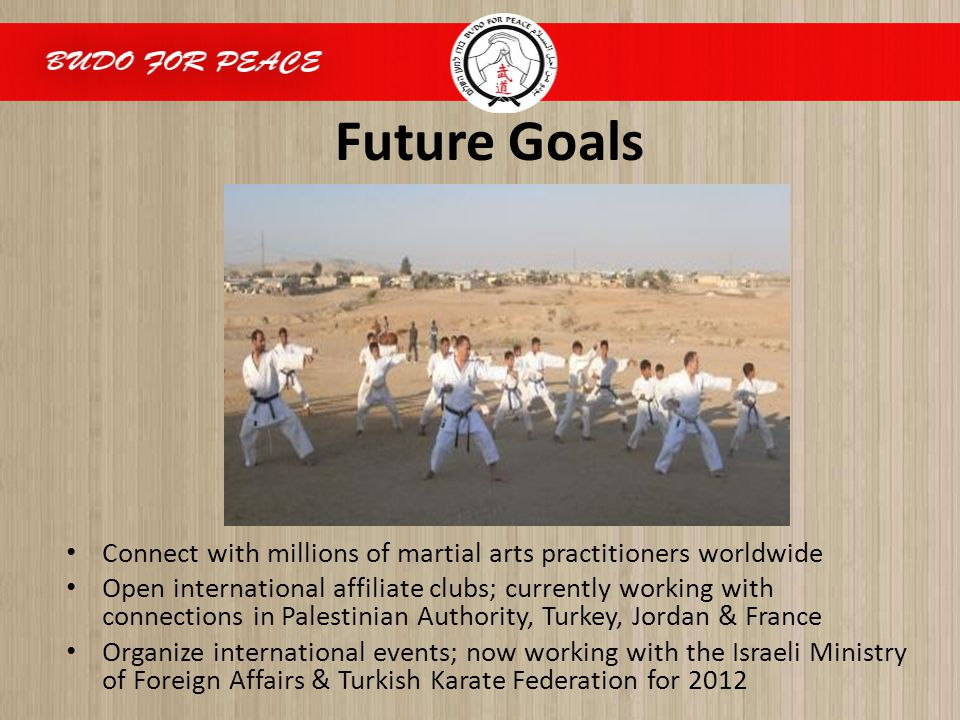 Future Goals Connect with millions of martial arts practitioners worldwide Open international affiliate clubs; currently working with connections in P