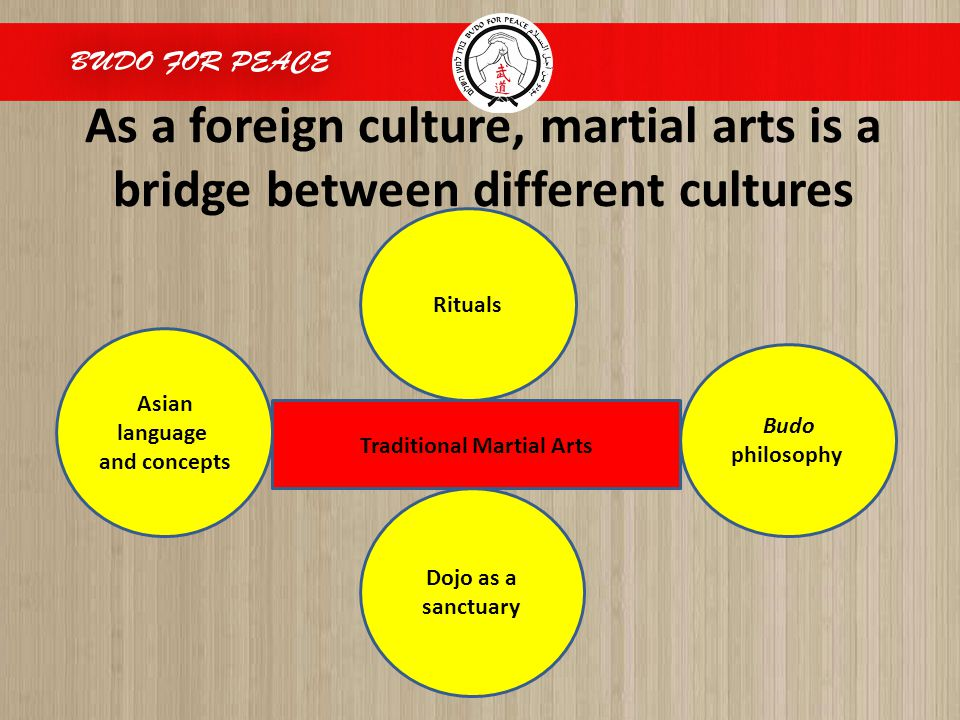 As a foreign culture, martial arts is a bridge between different cultures Rituals Budo philosophy Dojo as a sanctuary Asian language and concepts Traditional Martial Arts