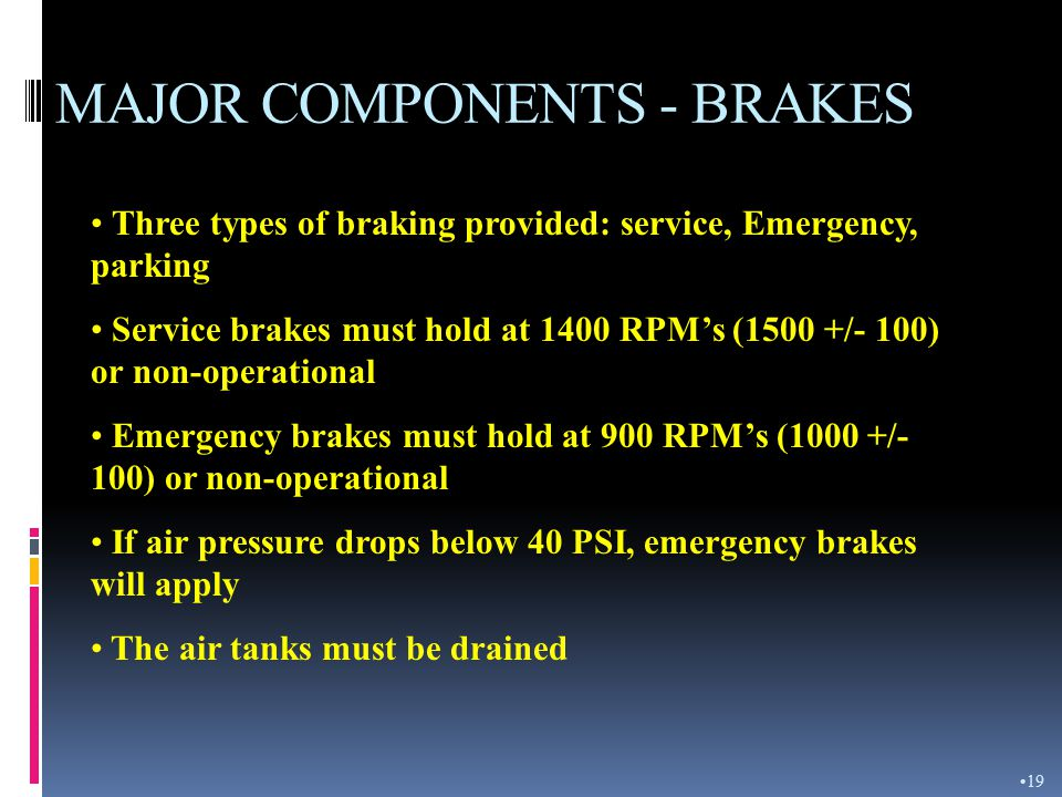 MAJOR COMPONENTS - TIRES Air pressure should be 60 PSI front/40 PSI rear when parked or being hauled When hauling material tire pressure will be 55 PS