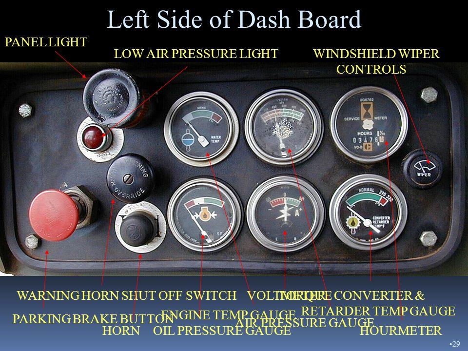 Right Side of Dash Board PANEL LIGHT START SWITCH FLOOD LIGHT SWITCH LIGHT SWITCH STARTING AID SWITCH TACHOMETER SUPPLEMENTAL STEERING LIGHT Right Sid