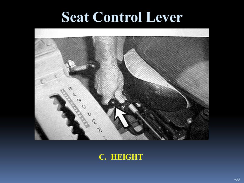 B. FORWARD AND BACK Seat Control Lever 32