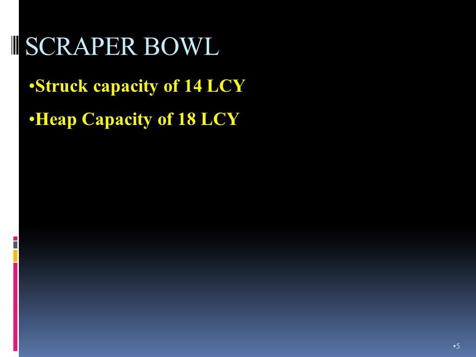 SCRAPER BOWL Struck capacity of 14 LCY Heap Capacity of 18 LCY 5